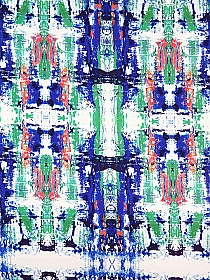 Cobalt/White/Jade/Multi Rayon/Lycra Mirrored Abstract Print Jersey Knit 58W