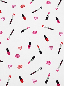 White/Pink/Red/Black 100% Rayon Makeup Print Challis 56W