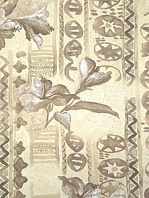 Pale Sand/Pale Oak/Light Taupe 100% Rayon Abstract Primitive Floral Print Crinkle Challis 44W