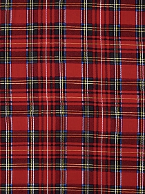 Crimson/Yellow/Teal/White 100% Rayon Plaid Challis 56W