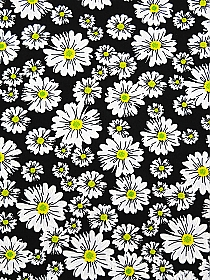 White/Black/Yellow Polyester/Lycra Floral Puff Print ITY Knit - NY Designer - 57W
