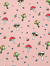 Dusty Rose Pink/White/Strawberry/Multi 100% Rayon Mushrooms & Butterflies Print Challis 56W