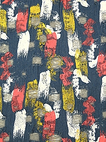 Smoke Blue/Gold/Light Carmine Pink/White Cotton/Polyester Vertical Paint Streaks Grunge Distressed Denim - Imported From Italy - 60W