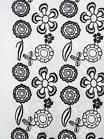 White/Black 100% Polyester Scalloped Double Border Floral Guipere Lace - Imported From Italy - 49W