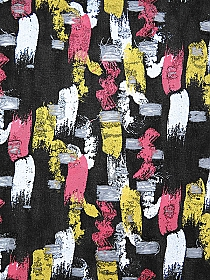 Muted Black/Dark Pink/White/Bright Gold Cotton/Polyester Vertical Paint Streaks Grunge Distressed Denim - Imported From Italy - 58W