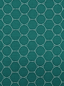 Teal Green/White Polyester/Lycra Jacquard Circles Design Double Knit - NY Designer - 62W