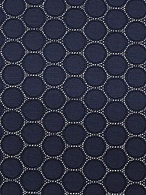 Prussian Blue/White Polyester/Lycra Jacquard Circles Design Double Knit - NY Designer - 58W