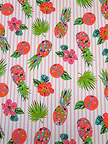 Bright Orange/Ballet Pink/Avocado/Multi Rayon/Nylon/Lycra Pineapple & Slices Print Ponte Knit - NY Designer - 62W