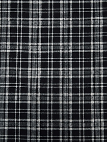 Soft Black/Charcoal/White 100% Polyester Plaid Print Micro Fleece - NY Designer - 63W