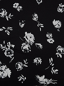 SOLD BY THE PANEL - Black/Gray/White Rayon/Lycra Falling Floral Print Jersey Knit - NY Designer - 65W
