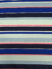Classic Blue/Pink/Sky Blue/Multi Rayon/Lycra Multi Stripe French Terry Knit 69W