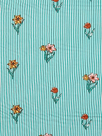 Light Sea Green/Off-White/Champagne Pink/Burnt Orange 100% Rayon Floral Over Vertical Stripe Challis 59W