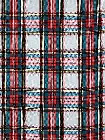 Teal/Deep Red/Light Gray 100% Rayon Plaid Challis 57W
