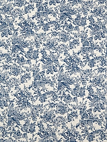 White/Deep Steel Blue 100% Cotton Rugged Floral Print Slubbed Shirt Weight Woven 54W