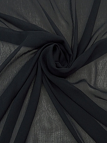 Darkest Navy 100% Silk Crinkle Chiffon - High-end Designer Label - 52W