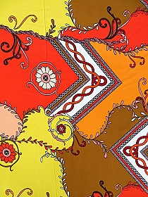 Tangerine/Vermilion/Off-White/Nutmeg Polyester/Lycra Geometric Floral Vines Print ITY Knit - Famous Dress Designer - 58W