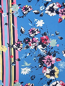 Cool Blue/Rose Pink/White/Navy/Red 100% Polyester Vertical Stripe Double Border Painterly Floral Print Georgette 58W