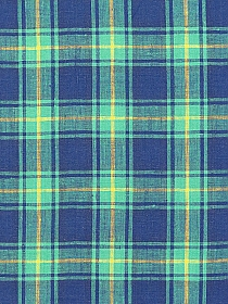 Regal Blue/Jade/Yellow 100% Linen Plaid Shirt Weight Linen - European Linen - 58W