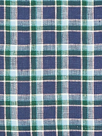 Blueberry/Deep Evergreen/Sky Blue/White 100% Linen Plaid Shirt Weight Linen - European Linen - 58W