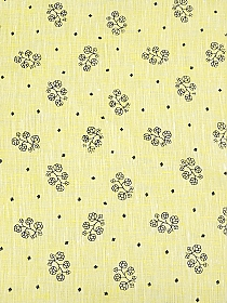 Yellow/Muted Black 100% Linen Floral Stems Print Shirt Weight Linen - European Linen - 58W