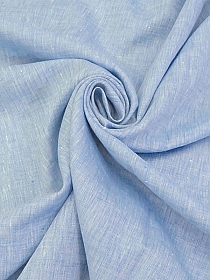 Cornflower Blue/White 100% Linen Light-Weight Yarn-Dyed Chambray Linen 58W