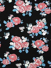 Champagne Pink/Black 100% Nylon Simple Floral Crepe Chiffon - Milly - 54W
