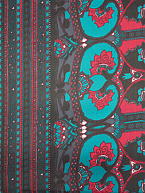 SOLD BY THE PANEL ONLY - Teal/Rose Red/Pine/Black 100% Silk Ornate Double Border Print Chiffon - NY Designer - 43W