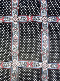 Black/White/Red/Blue 100% Silk Large Stylized Polka Dot Grid Print Chiffon - NY Designer - 52W
