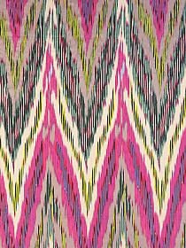 Almond/French Rose/Lime/Mocha 100% Silk Large Striped Chevron China Silk - NY Designer - 46W