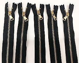 "Black/Gold 13"" Closed-end YKK Thin Metal Zipper - Milly - Qty of 5"