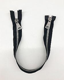 "18"" Black/Silver Heavy Coat Separating Zipper - Milly - Qty of 3"