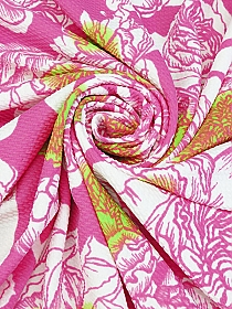 Raspberry Pink/Lime/White Polyester/Lycra Floral Liverpool Double Knit - Famous Dress Designer - 62W
