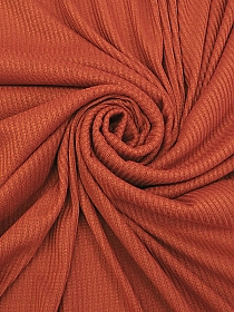 Autumn Pumpkin Rayon/Polyester/Lycra Ribbed Sweater Knit - Famous Dress Designer - 56W