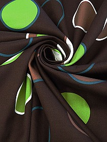 Chocolate/White/Green/Multi Cotton/Lycra Circles Print Fine Twill Bottom Weight - Famous Dress Designer - 52W