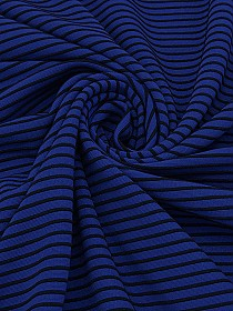 Muted Cobalt/Black Polyester/Lycra Stripe Ottoman Double Knit - Famous Dress Designer - 51W