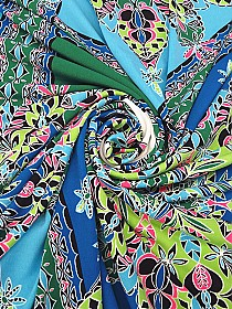 Sky Blue/Green Apple/White/Multi Polyester/Lycra Abstract Print ITY Knit - Famous Dress Designer - 66W