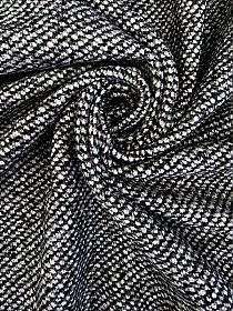 Black/White Wool/Polyester Heavy Twill Weave Coating 57W
