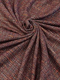 Plum/Black/Orange/Multi Wool/Polyester Blend Boucle Suiting 58W