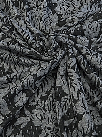Black/Gray Polyester/Lycra Floral Damask Jacquard Double Knit - Famous Dress Designer - 56W