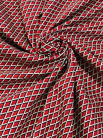 Red/Black/Tan Cotton/Lycra Diamond Print Fine Twill Bottom Weight - Famous Dress Designer - 56W