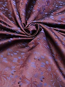Plum Wine/Concord Grape Wool/Polyester/Acetate Floral Satin Jacquard - Imported From Italy - 57W