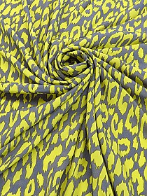 Caution Yellow/Graphite Gray 100% Polyester Animal Print Blouse Weight Woven - Famous Dress Desiger - 57W