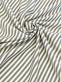 Soft Cream/Midnight Navy Viscose/Wool Striped Crepe Suiting - Imported From Italy - 59W