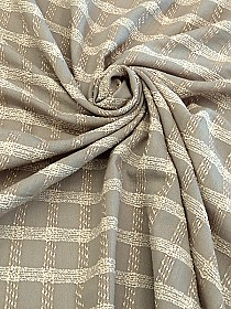 Hazelwood/Cream Wool/Nylon/Polyester Boucle Plaid on Gauze Suiting - Imported From Italy - 61W