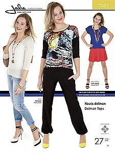 Jalie Patterns - Dolman Tops #3352 - Women/Girls Sizes