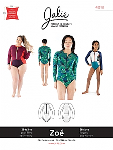 Jalie Patterns - Zoe Long-Sleeve Front-Zip Swimsuit #4013 - Women/Girls Sizes