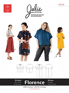 Jalie Patterns - Florence Shirt and Shirtdress #4020 - Women/Girls Sizes