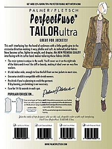 Palmer/Pletsch - PerfectFuse Tailor Ultra - 1 Yd White Poly/Rayon Fusible Weft Interfacing 66W