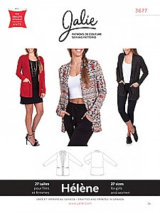Jalie Patterns - Helene Shawl Collar Cardigan #3677 - Women/Girls Sizes