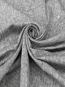Black/White 100% Linen Light-Weight Yarn-Dyed Chambray Linen 58W
